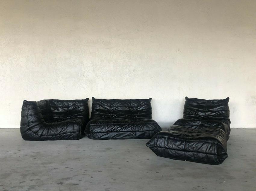Ligne Roset Togo Sofa Set - 4 Pieces Black Leather